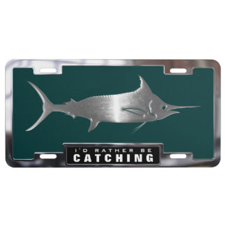 Chrome (faux) Blue Marlin Fish with Frame License Plate