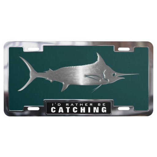 Chrome Faux Blue Marlin Fish With Frame License Plate
