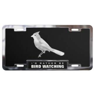 Chrome (faux) Cardinal Bird with Frame License Plate