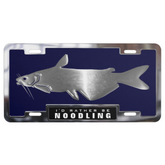 Chrome (faux) Catfish Graphic with License Frame License Plate