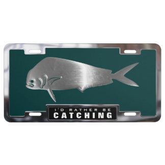 Chrome (faux) Dolphin / Mahi Mahi Fish with Frame License Plate