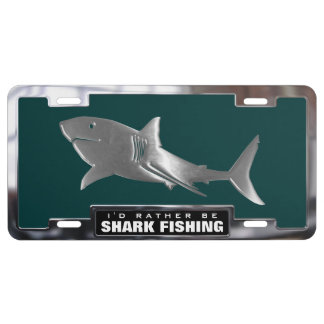 Chrome (faux) Great White Shark with Frame License Plate