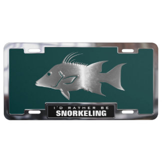 Chrome (faux) Hogfish with Frame License Plate