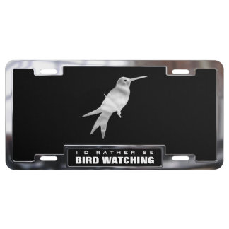 Chrome (faux) Hummingbird with Frame License Plate