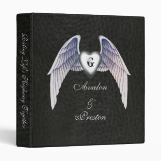 Chrome & Faux Leather Winged Heart Binder
