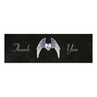 Chrome & Faux Leather Winged Heart Favor Tags Mini Business Card