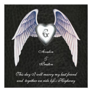 Chrome & Faux Leather Winged Heart Invitation