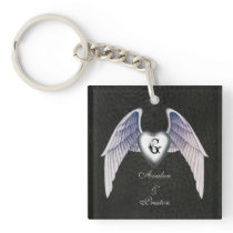 Chrome & Faux Leather Winged Heart Keychain