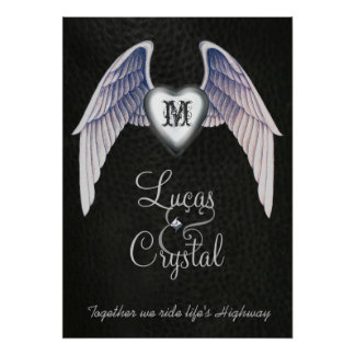 Chrome & Faux Leather Winged Heart Poster