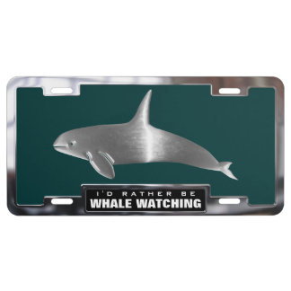 Chrome (faux) Orca Whale with Frame License Plate
