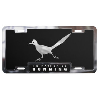 Chrome (faux) Roadrunner Bird with Frame License Plate