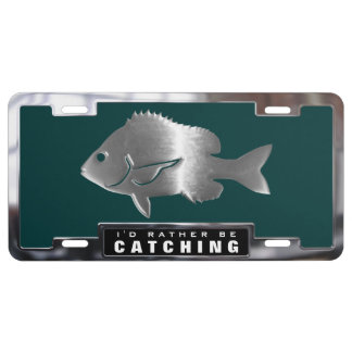Chrome (faux) Sheepshead Fish with Frame License Plate