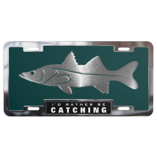Chrome (faux) Snook Fish with Frame License Plate