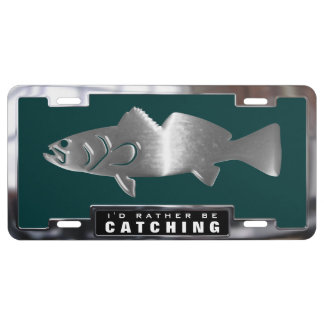 Chrome (faux) Spotted Sea Trout with Frame License Plate