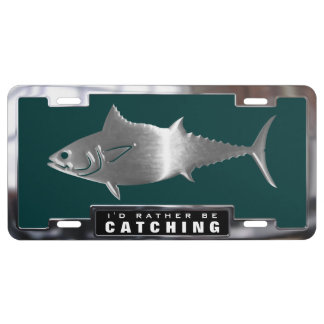 Chrome (faux) Tuna Fish with Frame License Plate