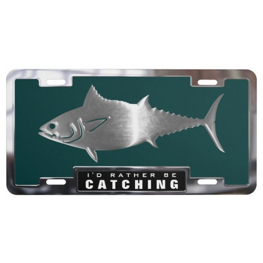 Chrome faux tuna fish with frame license plate zazzle for How much is a one day fishing license
