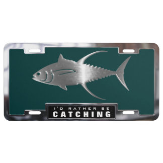 Chrome (faux) Yellowfin Tuna with License Frame License Plate