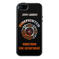Chrome Firefighter Name Template OtterBox iPhone 5/5s/SE Case
