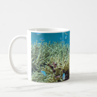 Chrome fish and staghorn coral design coffee mug