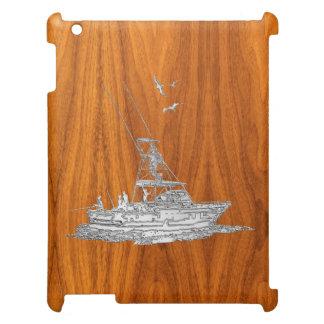 Chrome Fishing Boat on Teak Wood Grain Decor Case For The iPad 2 3 4