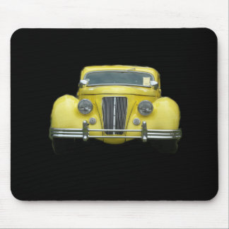 Chrome front grill of 1940's yellow antique car mouse pad