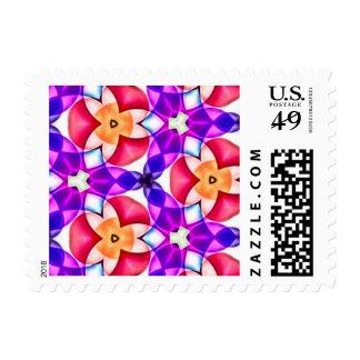 Chrome Geometric Multicolored Fractal Postage