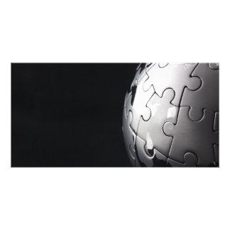 Chrome globe with black background card