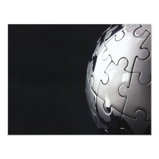 Chrome globe with black background 4.25x5.5 paper invitation card