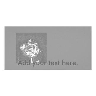 Chrome Gray Rose Photo Card