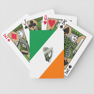 Chrome Green Harp Green Orange Playing Cards at Zazzle