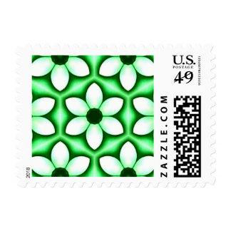 Chrome Green White Flower Kaleidoscope Postage Stamp