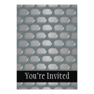 Chrome Grille Over Stainless Look 5x7 Paper Invitation Card