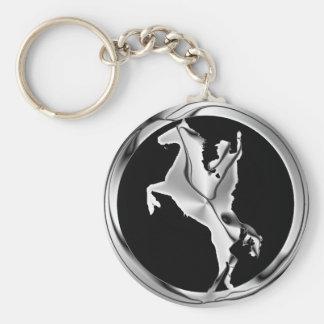 CHROME HORSE AND RIDER KEYCHAIN