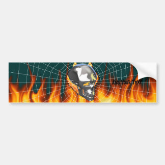 Chrome human skull design 1 with fire and web bumper stickers