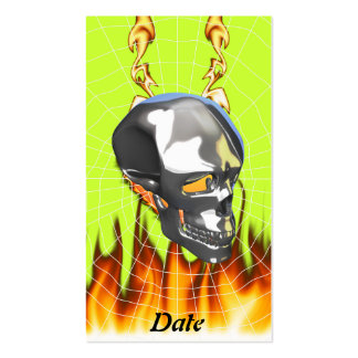 Chrome human skull design 1 with fire and web business cards