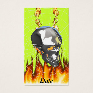 Chrome human skull design 1 with fire and web business card
