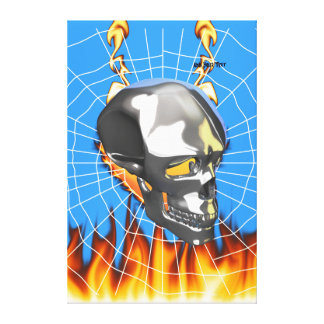 Chrome human skull design 1 with fire and web canvas print