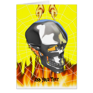 Chrome human skull design 1 with fire and web card