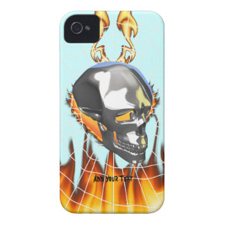 Chrome human skull design 1 with fire and web iPhone 4 case
