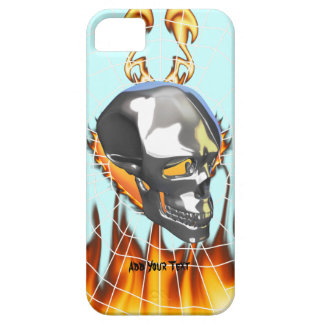 Chrome human skull design 1 with fire and web iPhone 5 covers