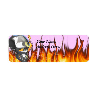 Chrome human skull design 1 with fire and web label