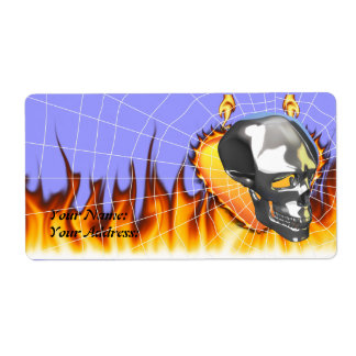 Chrome human skull design 1 with fire and web shipping labels