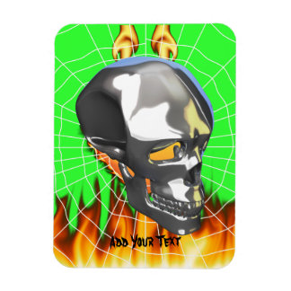 Chrome human skull design 1 with fire and web magnet