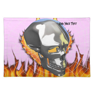 Chrome human skull design 1 with fire and web placemat