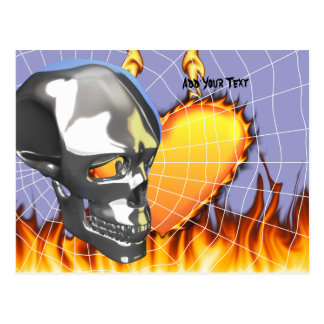 Chrome human skull design 1 with fire and web postcard