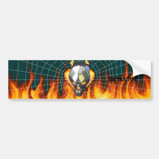 Chrome human skull design 2 with fire and web bumper sticker