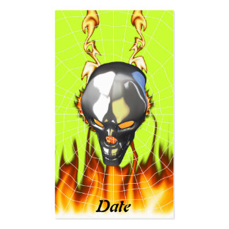 Chrome human skull design 2 with fire and web business card template