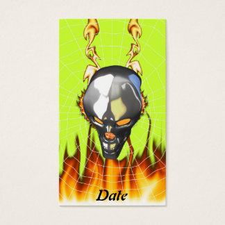 Chrome human skull design 2 with fire and web business card