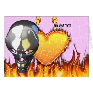 Chrome human skull design 2 with fire and web card