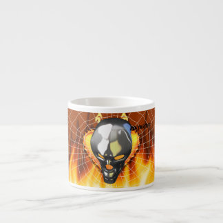 Chrome human skull design 2 with fire and web espresso cup